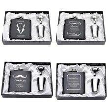 Персонализированные Выгравированные 6 унций бедра фляжка набор из нержавеющей стали Воронка Подарочная коробка+ 2 чашки невесты жениха Лучший человек ушер Свадебный декор