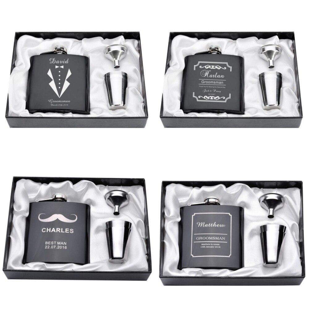 Personalizado gravado 6oz hip balão conjunto caixa de presente funil aço inoxidável + 2 copos noiva noivo melhor homem usher casamento decoração favor