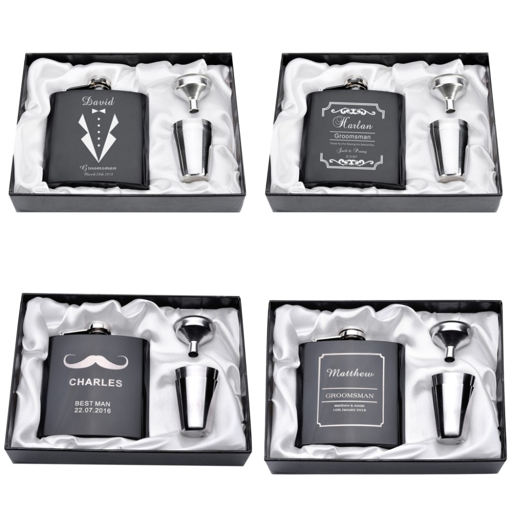 Personalized Engraved 6oz Hip Flask Set Stainless Steel Funnel Gift Box +2 Cups Bride Groom Best Man Usher Wedding Decor Favor image