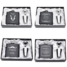 Personalized Engraved 6oz Hip Flask Set Stainless Steel Funnel Gift Box +2 Cups Bride Groom Best Man Usher Wedding Decor Favor