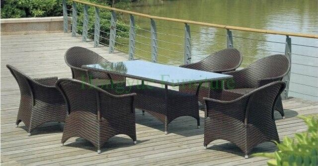 Patio exterior juegos de comedor, mesa de comedor de ratán sillas en ...