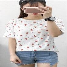 Polka Dot Cartoon Print T-shirt Women Summer Fresh Cute Style Tee shirt Femme Round Neck Short Sleeve Cotton Women Tshirt