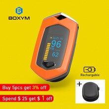 BOXYM палец импульса измеритель пульса SpO2 PR OLED Перезаряжаемые CE медицинской Oximetro де Dedo монитор сердечного ритма