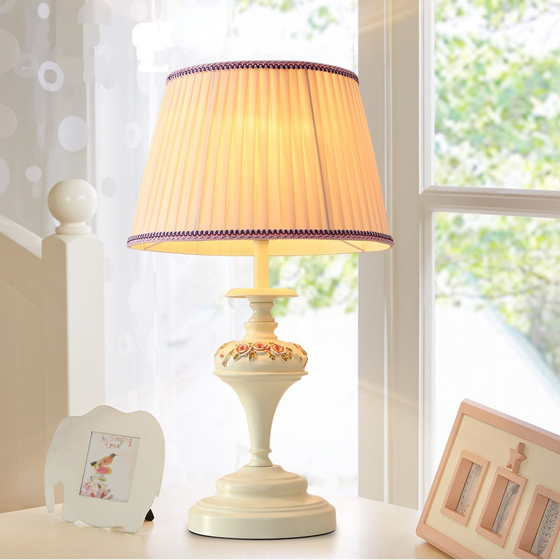 TUDA 35X59cm Free Shipping Modern European Style Resin Table Lamp Folding Cloth Lampshade Table Lamps for Bedroom Bedside Room