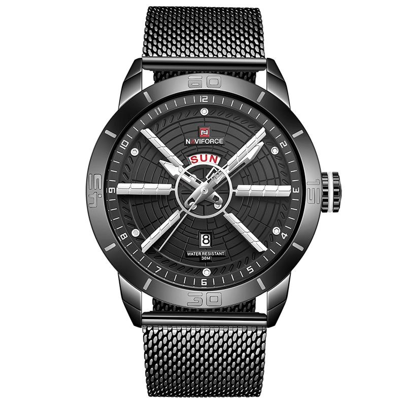 NAVIFORCE Men Watch Quartz Date Stainless Steel Waterproof Watches Men Blue Luxury Brand Men's Wrist Watch Man Relogio Masculino