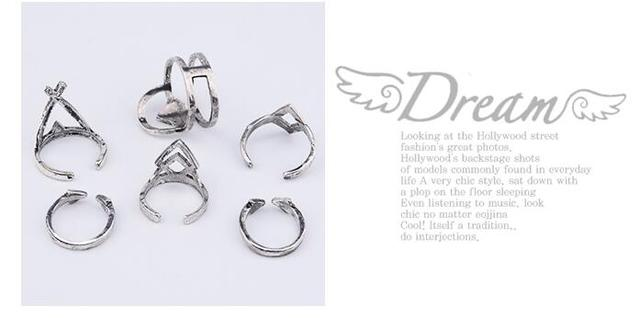 6PCS/Set Vintage Turkish Beach Punk Geometry Ring Set
