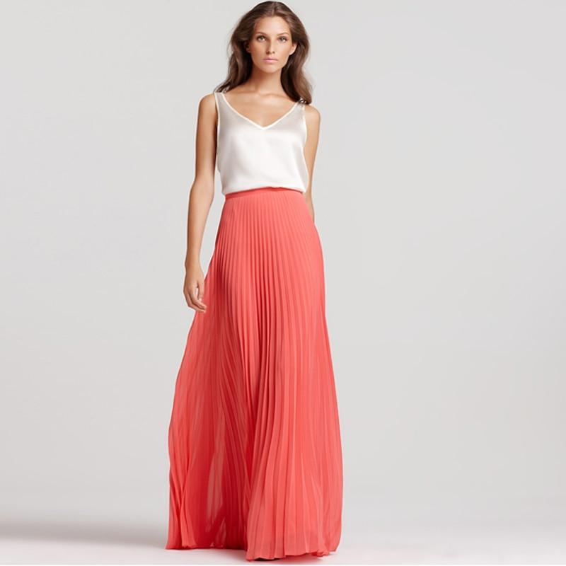 beaf91d5dee Jupe longue en mousseline de soie corail sur mesure taille haute longueur  au sol jupe longue plissée pour femmes été Boho plage Saia Longa dans Jupes  de ...
