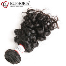 Bouncy Curly Brazilian Human Hair Weaves 1/3 Bundles For Salon Euphoria Natural Color 100% Remy Bundle Hair Weaving Extensions(China)