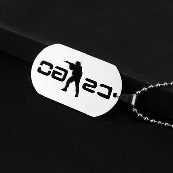 HEYu Game Cs Go Stainless Steel Badge Pendant Necklace Dogs Tag Necklace Bead Chain Jewelry Accessories image
