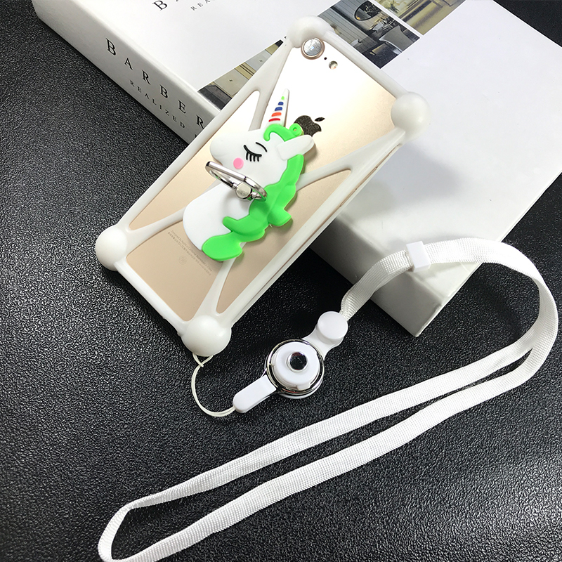 Universal 3D Soft silicone Case For Just5 Cosmo L707 For Just5 FREEDOM M303 For Just5 FREEDOM C105 cover with phone Ring Lanyard image