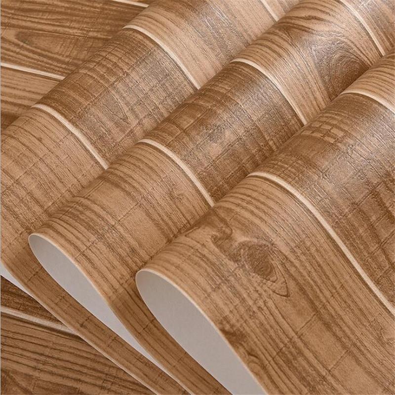 Beibehang simulé bois rayé plancher en bois 3d papier peint Restaurant salon chambre fond papier peint pour murs 3 d - 5