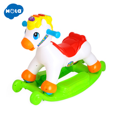 Rocking Pony Musical Educational Horse Ride On Rollers with Music/Light/Sliding Toy Children Learn ABC, Shapes & Numbers