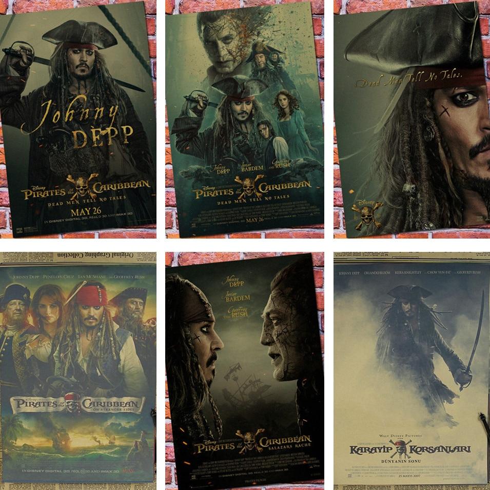 Pirates Of Caribbean Captain Jack Sparrow Johnny Depp Poster Retro Bar Decorative Painting