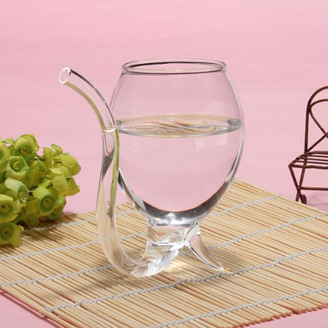 Free shipping New Wine Glass Cup Whiskey Glass With Drinking Tube Straw Clear 300ml SH29