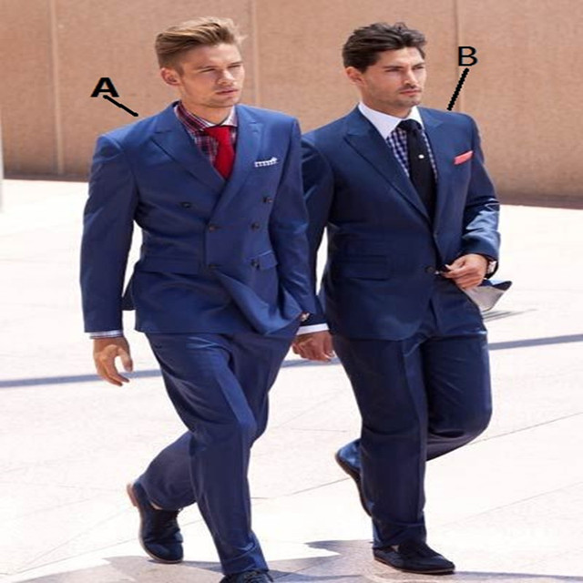 2018 Blue Suits Bespoke Fashion Style Young Men Daily Work Office