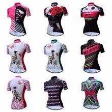 สีชมพู Jersey ผู้หญิงจักรยาน Top เสื้อฤดูร้อนแขนสั้น MTB ขี่จักรยานเสื้อผ้า Ropa Maillot Ciclismo แข่งจักรยานเสื้อผ้า