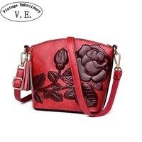 Luxury Designer Women's Bag Chinese Style Embossed Tassel Handbag Fashion Single Shoulder Pu Leagther Bags Dames Tassen