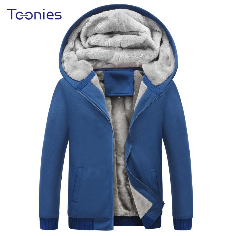 2018 Winter Mens Fashion Cashmere Hooded Sweatshirt Hoodies Male Plus Size Long Sleeve Solid Zipper Moletoms Tracksuit Homme Top