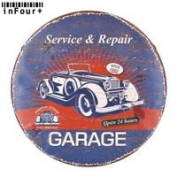 Service Repair Wall Decor Round Metal Sign Vintage Home Decor Tin Sign Garage Decor Metal Plaque