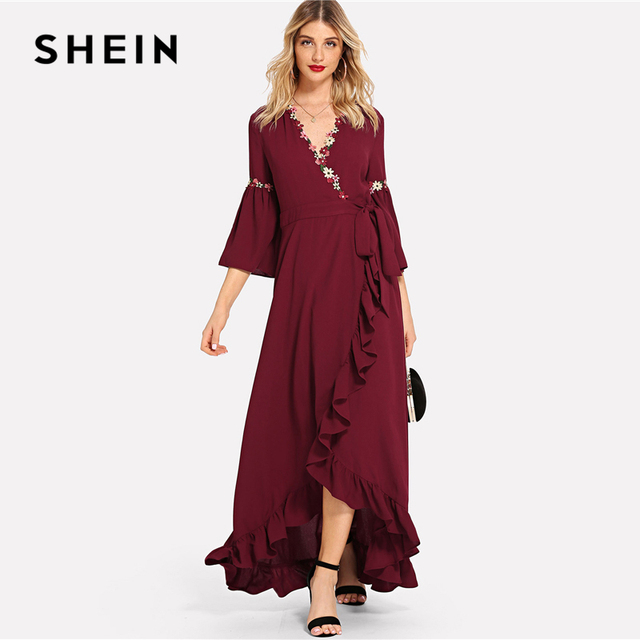 SHEIN Burgundy Flower Applique Asymmetrical Ruffle Hem Surplice Wrap Beach  Dress Vacation V Neck High Waist 5ad811fa4
