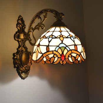 Tiffany Wall Lamp European Baroque Stained Glass Wall Sconce Mirror Bedroom Bathroom Cabinet Fixtures E27 110-240V - DISCOUNT ITEM  15% OFF All Category