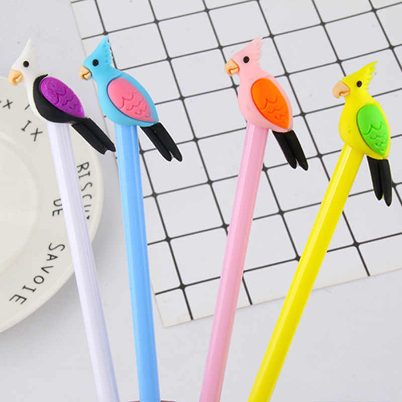 Direct selling cartoon creative parrot three-dimensional neutral pen colorful bird black gel pen stationery for students