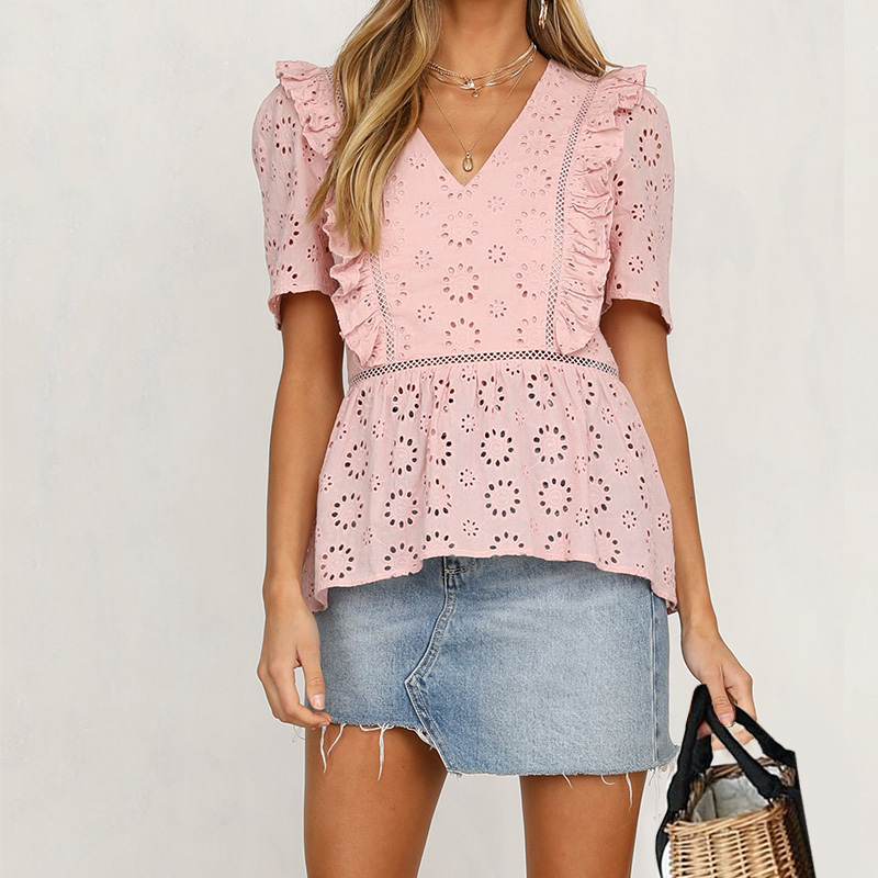 Elegant Sweet Pink Lace Embroidery   Blouse     Shirt   Women Ruffle V-neck Loose   Blouses   Summer 2019 Hollow Out Streetwear Top Blusas