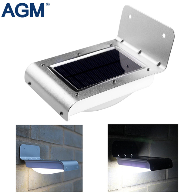 AGM LED Solar Wall Light 16 Leds PIR Motion Sensor Solar Powered Panel Waterproof Security Lamp For Outdoor Garden Patio Path