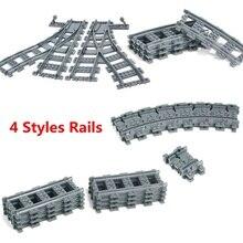 Городской поезд Гибкая железнодорожных путей строительные блоки кирпичи Streight прямой изогнутый Фуркальные игрушка для трека для детей Совместимость Legoinglys