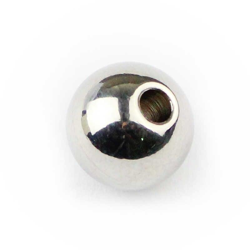Jhnby Stainless Steel Pengatur Jarak Manik-manik Bola 3/4/5/6/8 Mm Logam Bulat Manik-manik Longgar untuk Perhiasan Gelang Membuat Diy Aksesoris Temuan