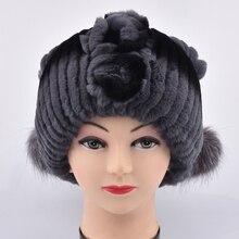 Новый стиль Зимой меховая шапка Мех Кролика Женщины Теплый мода Леди шапочка Hat Ручной вязаная шапка головные уборы gorro Шапки девушки меховая шапка