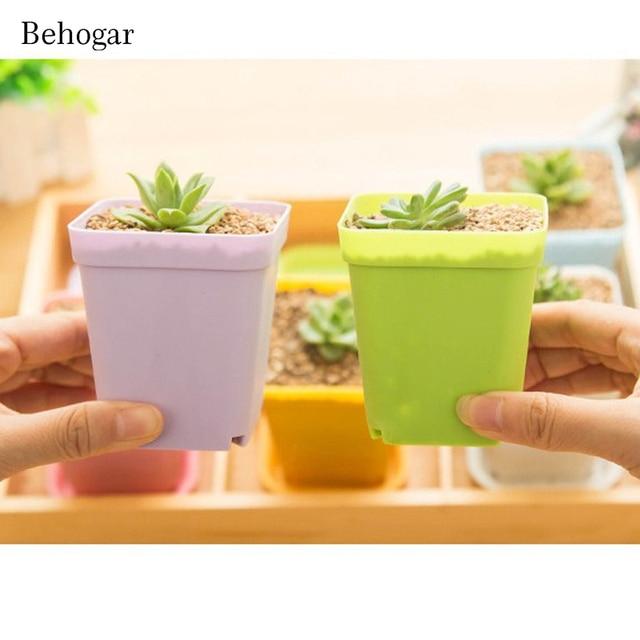 Behogar 20pcs Square Multicolour Nursery Pots Plastic Plants Flower Planter Garden Desk Home Decor