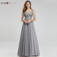 Elegant Grey Evening Dresses Long Ever Pretty A Line V Neck Sleeveless Sequined Sexy Party Gowns Vestidos De Fiesta De Noche