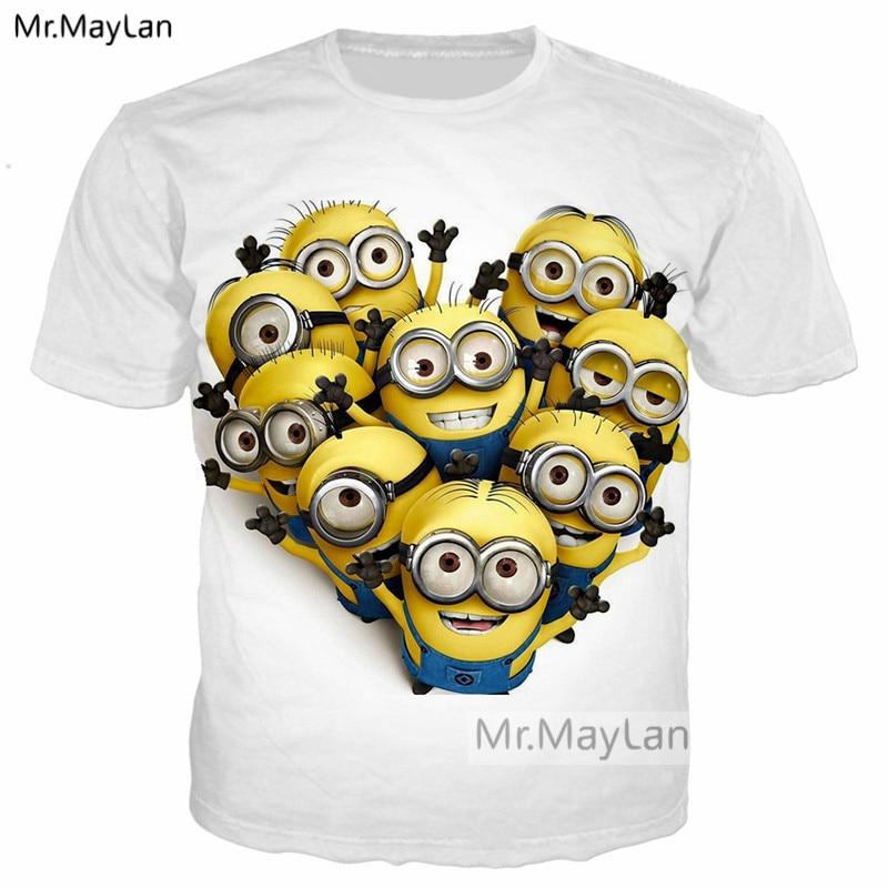 Funny Cartoon Cute Minions 3D Print Tee T shirt Women/Men Hipster Tshirt Crewneck T-shirt Tops White Boys Fashion Clothes 5XL