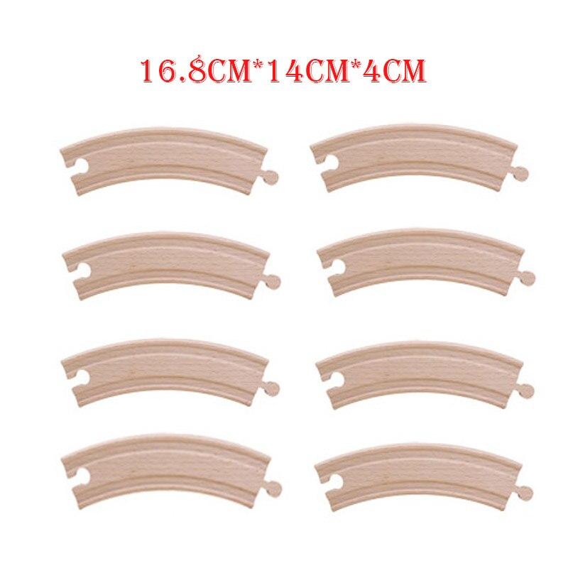 Friends 8pcs/lot 16.8cm Wooden Train Tracks Curved Tracks Set Educational Blocks Toys Railway Accessories Bloques De