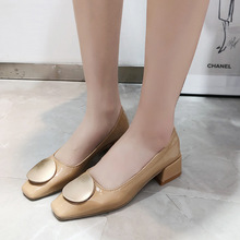 Single shoes female 2019 spring new Korean version INS net red square head shallow mouth with soft sole work