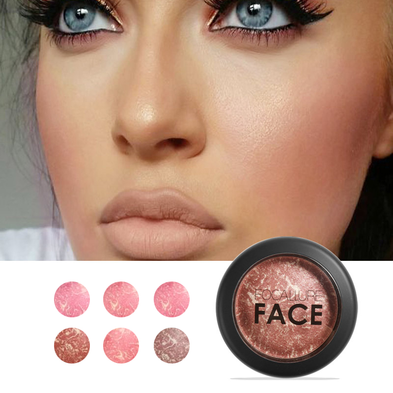 Focallure Baked Blush Face Maquiagem Soft Smooth Mineralize Makeup Blush Palette Bronzer Blusher 6colors för att välja