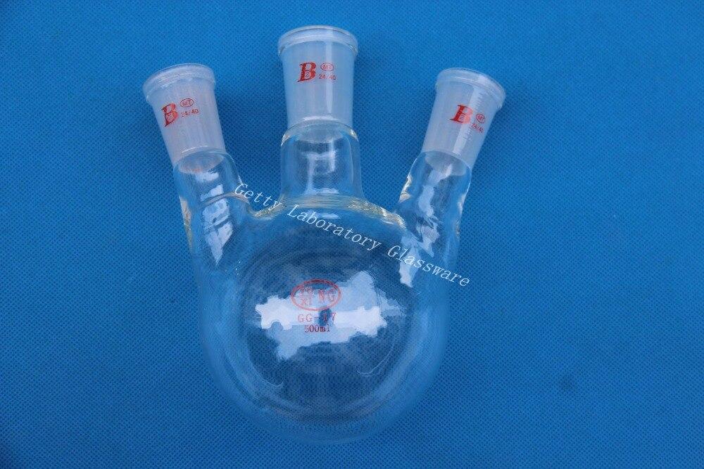 500 ml shipping500ml 3-hals-rundkolben, schwere wand, 24/40 (borosilikatglas 3,3 material)