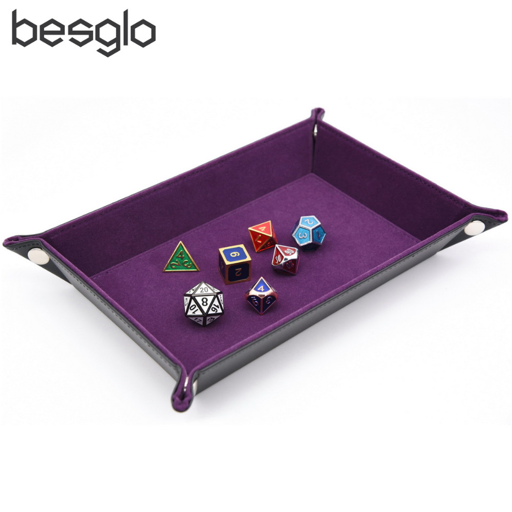 Dice Holder PU Leather Folding Rectangle Tray w/purple ...