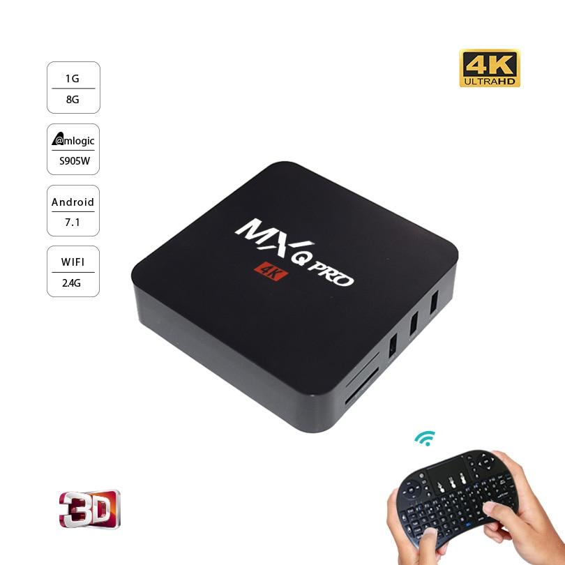 MXQ PRO Android 7.1 TV Box Amlogic S905W Quad Core Ram 1GB ROM 8GB 4K 2.4G WiFi Smart Tv Box Media Player PK X96mini