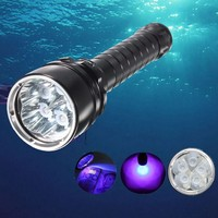 5000 Lumens IPX 8 Diving Flashlight 395nm UV Torch Underwater 150m Super Brightness LED Light 18650 Rechargeable Fishing Lamp