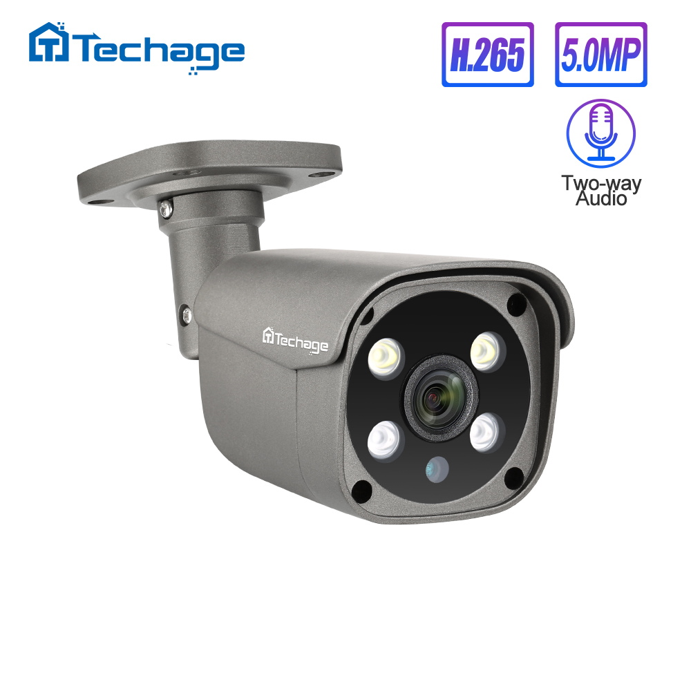 Techage H.265 5MP Security POE IP Camera Human Detection Outdoor Two-way Audio Video Surveillance AI Camera ONVIF For NVR System
