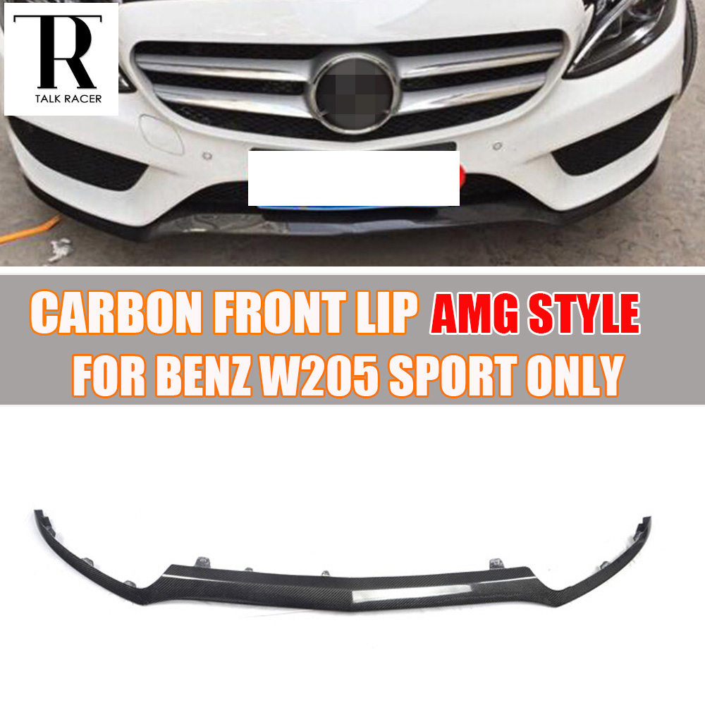 W205 Labbro Anteriore In Fibra di Carbonio Spoiler per Mercedes-Benz CLASSE C C180 C200 C220 W205 C250 C300 Sport Paraurti 2015 UP