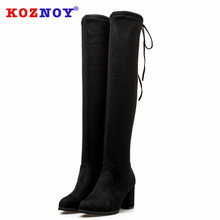 Koznoy Women Boots Winter Pointed Toe Dropshipping Fashion Over The Knee High Heel Slip Solid Breathable Square