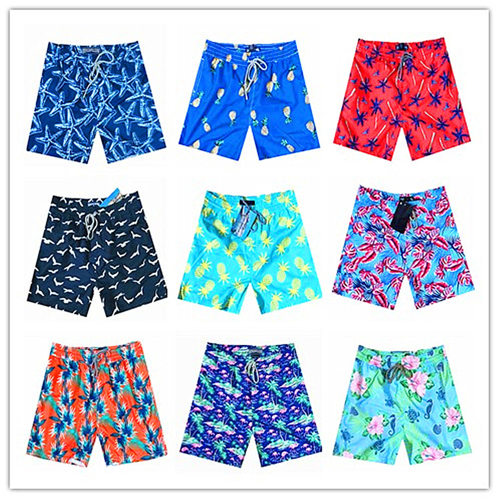 2019 Brand Vile Mens Beach   Board     Shorts   Quick Dry Turtle Starfish Flamingos Boardshorts Man Brequin Swimwear Blue Red Black Pink