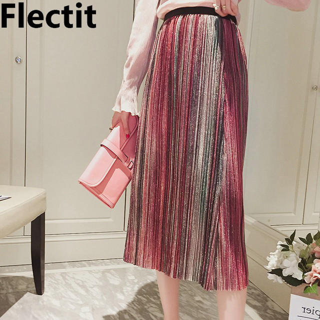 2dddc8f11 Flectit Metallic Glitter Lurex Stripe Pleated Midi Skirt Vintage Sequin  High Waist Accordion Pleat Skirts Women Outfits