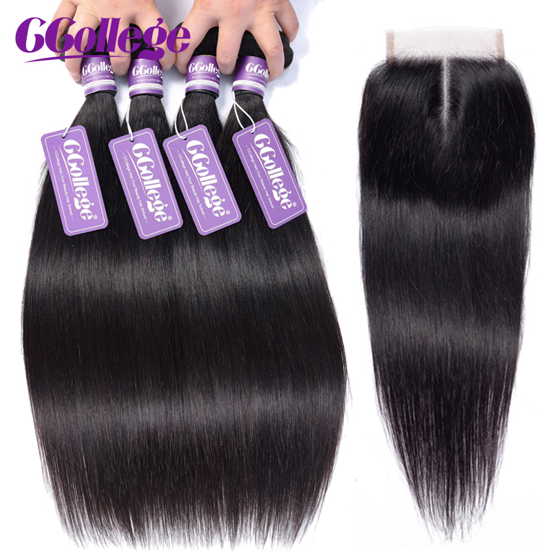 CCollege Hair Peruvian Straight Bundles With Closure 3 Pieces 8 26 inch Remy Weave Human Hair