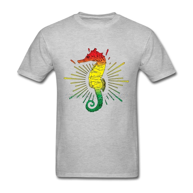 f638991810 Reggae música Seahorse camiseta música gráfica marina para adolescente  tornillo Masajeadores de cuello bandera colores Camisas