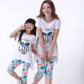 Fashion Cats + Short 2pcs Family Clothing Set Clothes for Mother and Daughter Girls Clothes set (White, Violet)CY09