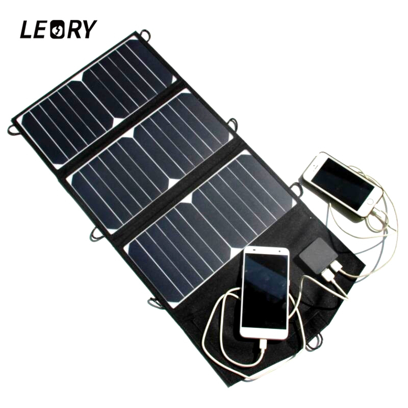 LEORY 21W 5V Solar Panel Portable Folding Solar Cells High Efficient Charger With Dual USB Ports For Mobile Phone MP3 GPS portable folding 5v 15w double usb port solar charger mobile phone power mp3 mp4 gps camera game solar panels outdoor charging